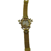 Vintage Kirk's Folly gold tone watch bracelet cherub moon and stars Dream and Believe