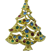 J.J Christmas Tree pin scalloped layers multiple colored stones