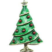 Unique green washed B.J Christmas tree pin