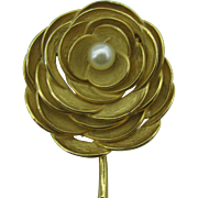 Corocraft large Rose pin gold tone with glass pearl center