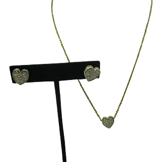 Vintage Swarovski Heart crystal Necklace and earring set