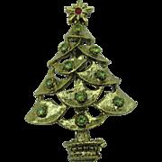 Cute Christmas tree pin with peridot colored rhinestones