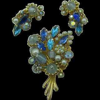 Beautiful Blue pin and earring set