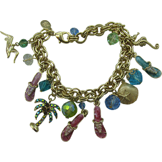 Vintage Kirk's Folly charm bracelet tropical motif with papers and original box