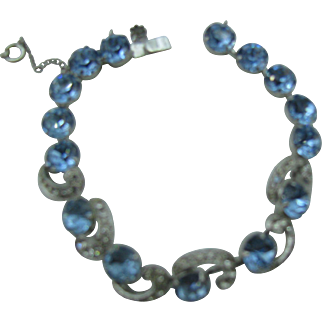Eisenberg Bracelet, Crescent Moon Rhinestones 1940s Wedding Bridal Vintage Jewelry