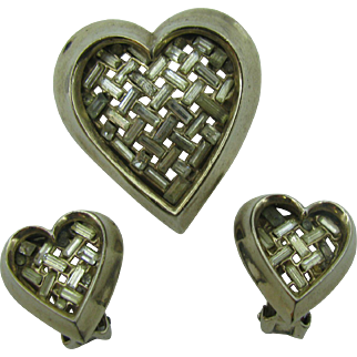 Trifari Heart Pin and earring set by Alfred Philippe 1951
