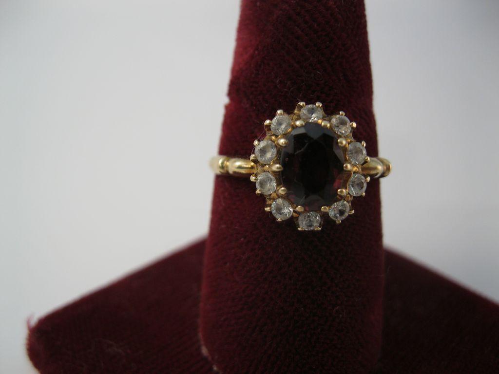 Diamond and Garnet ring in 10K gold setting