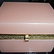 Antique Opaline Glass Box  ,Pale Pink Color