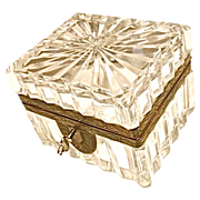 Antique cut crystal box w/ key