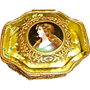 Antique Bronze box ,Glass top with Enamel on Copper Portrait