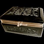Black Opaline glass box, carved, shiny, matte, design