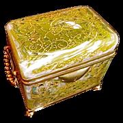 Antique Opaline Lemon Twist Glass Box