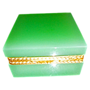 Vintage Soft Green Opaline Glass Box