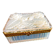 Antique Boulle de Savon Opaline Glass Box, carved flower design