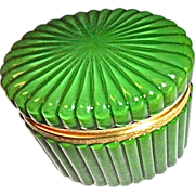 Green Opaline Glass Box Starburst Ribbed Design