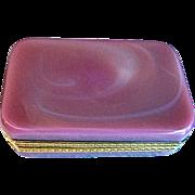 Lilac Swirl Opaline Glass box, Rare Color
