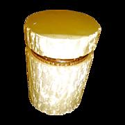 Vintage Opaline Glass Box, pale yellow w/ textured finish