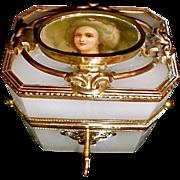 Antique Opaline Glass Box with Bronze Mounts , Portrait on top
