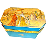 Exceptional Murano Opaline Glass Box Hand Painted Scene  Very Large Size