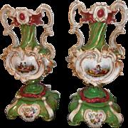 Antique 19th c. Old Paris Porcelain Urns on Stands