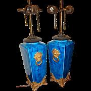 Antique Pr Royal Worcester Lamps  Brilliant Color