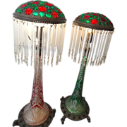 Antique Pr Tall Cut crystal Lamps Bronze Shades & Bases w/ Stones