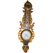 Antique French Parcel Gilt Carved Barometer