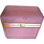 Antique Opaline glass box Mauve color