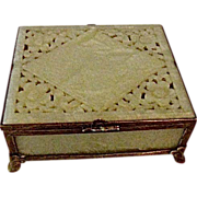 Vintage Serpentine Jade box, bronze mounts carved design