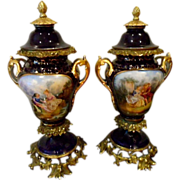 Antique 19th c pair Old Paris Urns