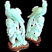 Vintage Serpentine Jade Peacock Figurines