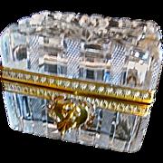Antique French cut crystal glass box w/key