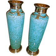 Antique  French Sevres Vases w/ solid silver Mounts,