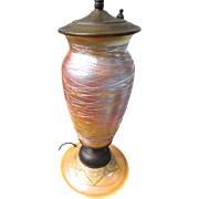 Durand Art Glass Lamp, Pulled Feather, Iridescent Threaded