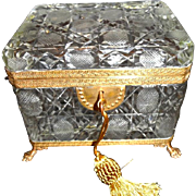 Antique French Large Crystal Baccarat Box, Feet ,Key