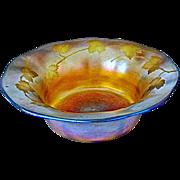 Antique Tiffany Favrile Bowl w/ intaglio leaf design