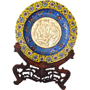 Large Chinese Closionne Charger on wood stand