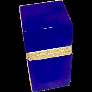 Opaline Glass box  Brilliant Blue