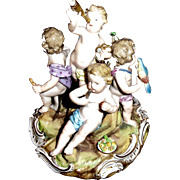 Antique 19th C Meissen Figural Showing 5 Children at Play