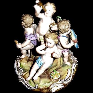 Antique 19th C Meissen Figural Showing 5 Children at Play