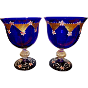 Murano pair of very large hand painted urns
