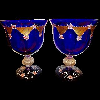 Murano pair of very large hand painted urns