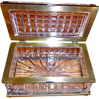 Signed Baccarat cut crystal Box  Heavy bronze mounts ,hinge feet