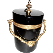 Vintage Murano Black Opaline glass  Box Ice Bucket, Bronze mounts