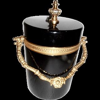 Vintage Murano Black Opaline glass  Box Ice Bucket, Bronze mounts