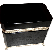 Black Opaline Glass Box  Vintage  , shiny black w/feet