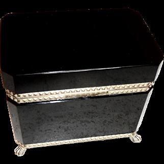 Black Opaline Glass Box  Vintage  , shiny black w/feet