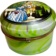 Opaline Glass box  Swirled Green Deco style painting on top, Rare form