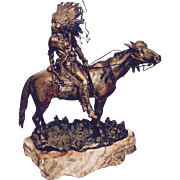 Carl Kauba patinated bronze Indian on horseback