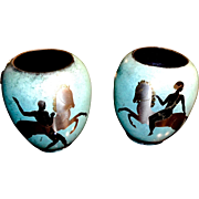 Pair of WMF enamel on copper Ikora Vases